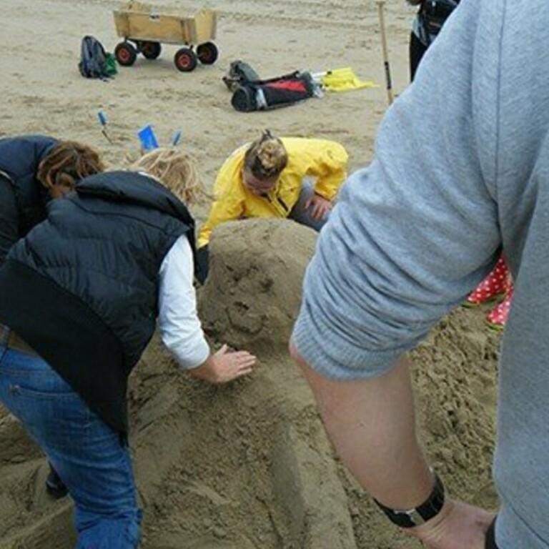 Zandsculpturen bouwen